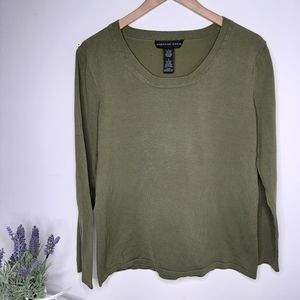 Josephine Chaus Silk Blend Olive Top size L